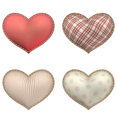 Heart-shaped soft toy set isolated EPS 10 vector image vector image