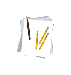 Isolated piece of paper and pencils design vector image