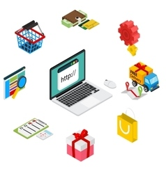 Isometric of online shopping with vector image