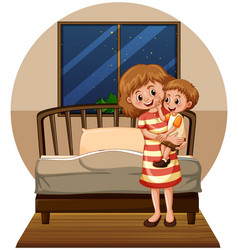 mother and son in bedroom vector image vector image