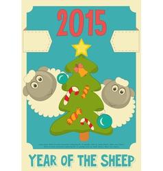 New Year Card with Cute Cartoon Sheep vector image vector image