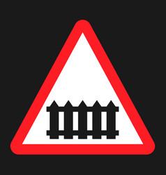 Railroad crossing with barrier sign flat icon vector