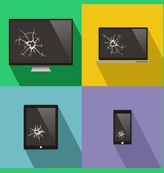 set of broken screen of smart phone computer vector image
