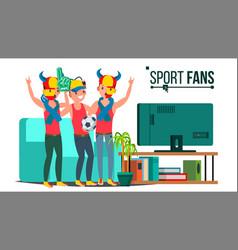 sport fans group tv-set sport match vector image