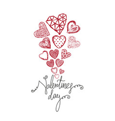 doodle heart happy valentines day vector image vector image