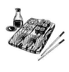 hand drawn set of sushi and rolls sketch vector image