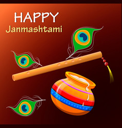 Happy krishna janmashtami greeting post card easy vector