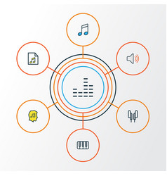 Music colorful outline icons set collection of vector