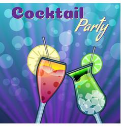 summer cocktails party banner invitation flyer vector image