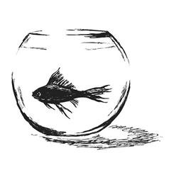 Hand sketch aquarium with fish vector