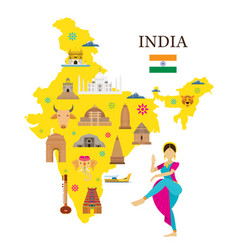 india map and architecture landmarks icons vector image vector image