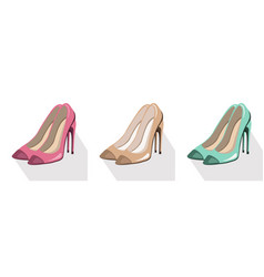 Sexy lady shoes pumps set colorful summer vector