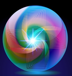 abstract background ball glass with neon vector image