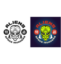 Aliens emblem badge label or shirt print vector