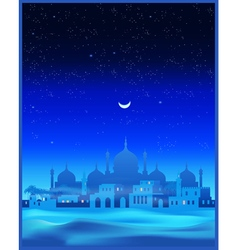 Ancient Arab town at night vector image