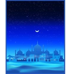Ancient Arab town at night vector image vector image