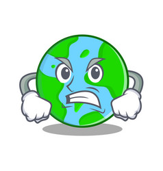 angry world globe character cartoon vector image