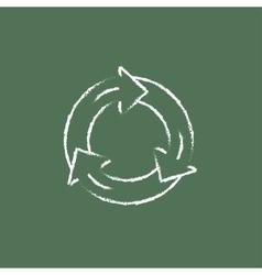 Arrows circle icon drawn in chalk vector