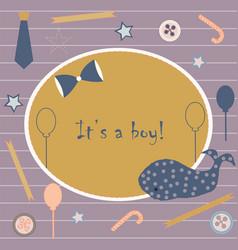 Baby boy birth announcement baby shower vector