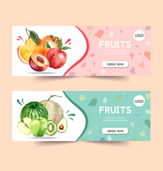 Banner design with fruits theme plum and melon vector