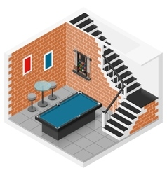 Basement isometric icon set vector