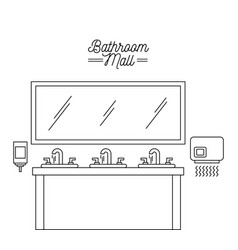 Bathroom mall sink mirror hand dryer and soap vector