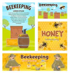 Beekeeping honey apiary beekeeper posters vector