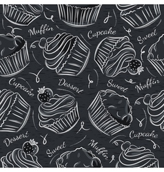 Black blackboard with cupcakes vector