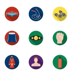Boxing set icons in flat style Big collection of vector