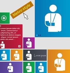 Broken arm disability icon sign buttons Modern vector