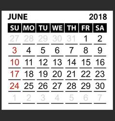 calendar sheet june 2018 vector image