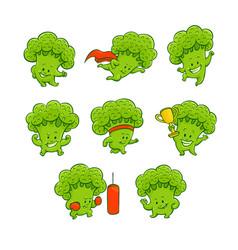 cartoon broccoli characters set vector image
