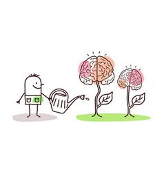 Cartoon man watering growing brains vector
