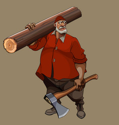 Cartoon serious gray haired man with an ax in his vector