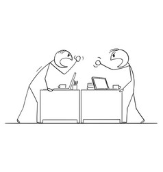 cartoon two angry arguing or fighting men vector image