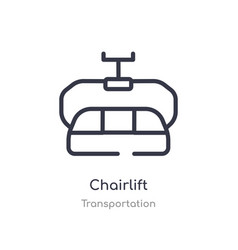 Chairlift outline icon isolated line from vector