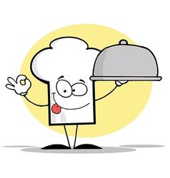 Chef Hat Guy Serving A Platter vector image
