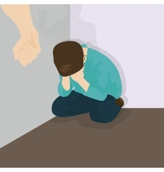 Child abuse violence bullying kids in corner vector