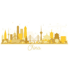 China city skyline golden silhouette vector