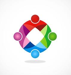 circular geometry color teamwork logo vector image