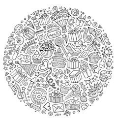 CoSet of Holidays cartoon doodle objects vector