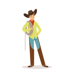 cowboy standing and holding a rope over his vector image
