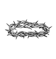 crown of thorns religious symbol retro vector image