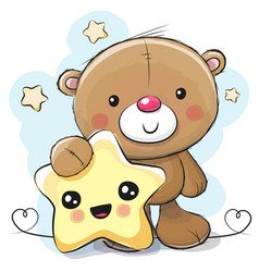 Cute cartoon teddy bear with star vector