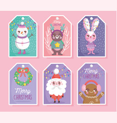 cute characters happy christmas tags vector image