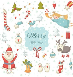 Cute colorful Christmas set with Santa Claus vector