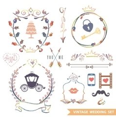 cute retro floral set with doodle decorwedding vector image
