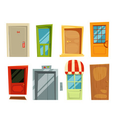 Decorative doorway and different retro doors in vector