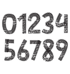 Digits made from tank and tractor tracks vector image