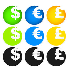 dollar euro and pound symbols in circles vector image
